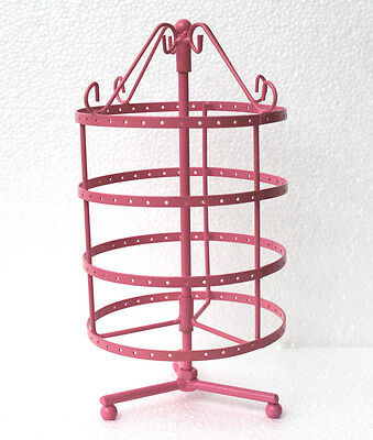 144 holes pink color rotating earrings jewelry display stand rack holder