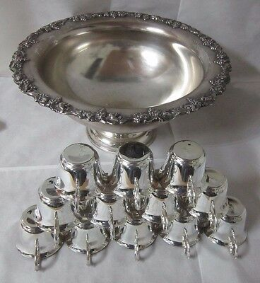 """Beautiful Ornately Decorated Silver-Plated Large 18"""" Serving Bowl & 12 Cups"""