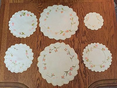 Antique/Victorian Society Silk Emb. 6 Round Doilies,Beautiful, late 1800's