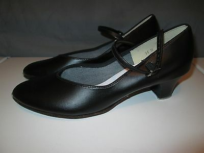 "Womens Character Black Tap Dance Shoes Size 11 Theatricals 2 1/4"" Heels Leather"