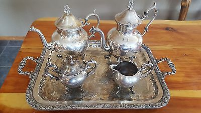 Vintage Silverplate Coffee & Tea Set with Tray With Handles BSC