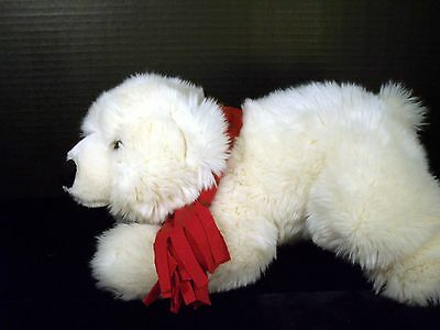 "SEA WORLD WHITE POLAR BEAR 11"" with red scarf Stuff Plush Arctic Wild Animal"