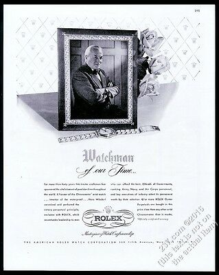 1948 Rolex watch Hans Wilsdorf photo vintage print ad