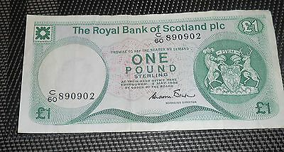 The Royal Bank Of Scotland Bank Note Plc.1 Pound Bank Note 1982 Sorting Marks