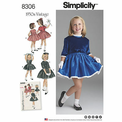 Simplicity SEWING PATTERN 8306 Childs Retro 1950s Dress Age 3-8