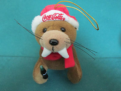 1999 Coca-Cola   Walrus   Plush Christmas Tree Ornament