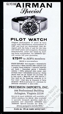 1964 Glycine Airman pilot watch photo vintage print ad