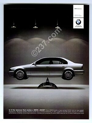 2001 BMW 5-series silver car perfectly balanced photo vintage print ad