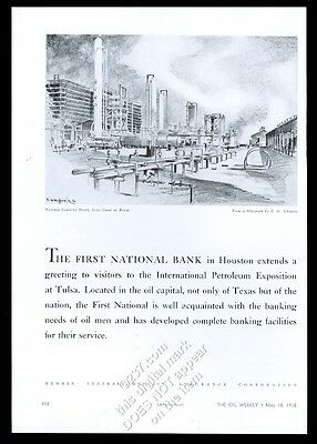 1936 E.M. Schiwetz Texas gulf natural gas plant art 1st National Bank Houston ad