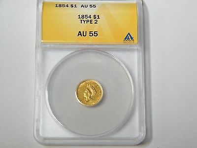 1854 $1 Indian Princess Gold Coin Type 2 AU55