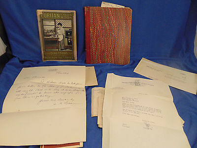 Antique books Puritan Oil Stoves Cookbook 1943 hand written journal historic art
