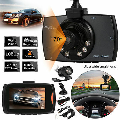 1080P HD 170° Dual Lens DVR Night Vision Car Recorder Dash Camera G-sensor MA355