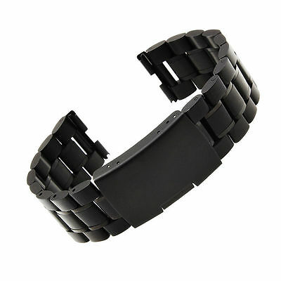 Black Metal Watch Strap Band Replacement for Motorola Moto 360+Connector PC718