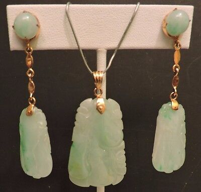 Fine Old Estate Chinese Carved Jade 14K Pendant & Earrings
