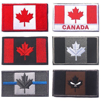 CANADA FLAG PATCH CANADIAN Embroidered TACTICAL Patch Hook Loop USA OPS ARMY