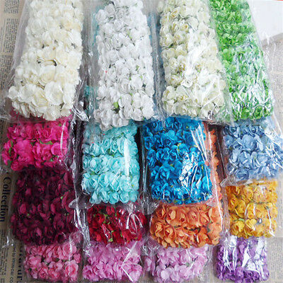 144PCS Mini Flower Head Artificial Paper Flowers Rose For Wedding Party Decor