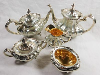 Reed & Barton Hampton Court Sterling Silver 5-Piece Tea & Coffee Service Set