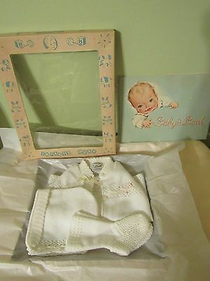 Vintage Baby Doll Sweater Set/Box+ Baby Book, Never Used, Child, or Compo Doll
