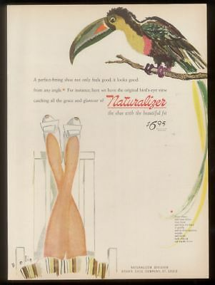 1944 William Bolin toucan art Naturalizer shoes vintage print ad