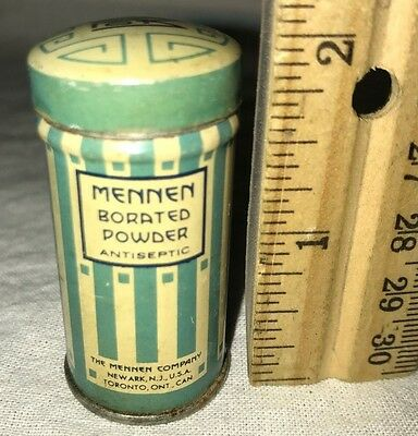 Antique Mennen Borated Antiseptic Talcum Powder Sample Tin Litho Vintage Can Old