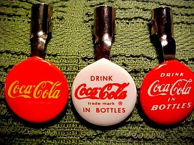 3 different COCA-COLA pencil clips-nice looking 40's-60's style logos