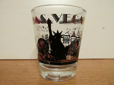 Las Vegas Black & Gold   Short Shot Glass Featuring The Casinos