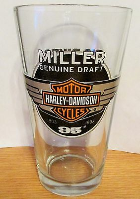 Miller Genuine Draft Harley Davidson 1903 1998 95th pint glass Big Bikes Beer...