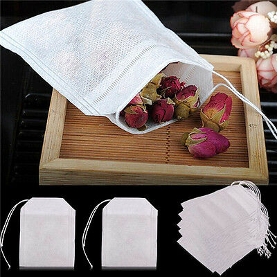 Empty Teabags 100X non-woven String Heat Seal Filter Paper Herb Loose Tea Bag CH
