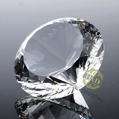 New Large Crystal Glass Paperweight Diamond Shape Gem 80mm Wedding Display Gift