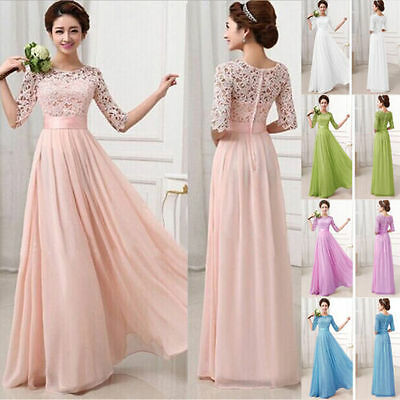 New Long Chiffon Bridesmaid Evening Formal Party Ball Gown Prom Dress S-XL
