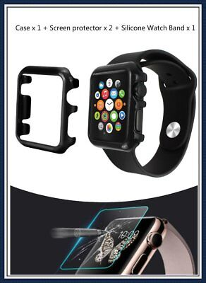 3 in 1 42mm Black Apple iWatch Protector x 2 Hard Protective Case Silicone Band