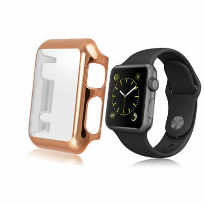 Rose Gold Clear Apple iWatch 42mm Hard & Slim Protective Case w/ Screen Protect