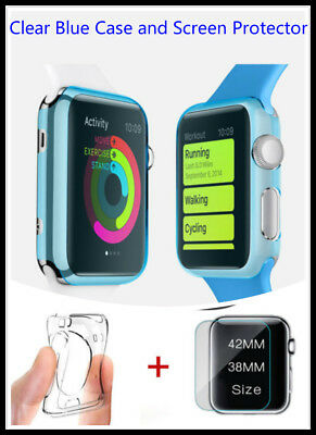 Clear Apple Blue iiWatch 38mm Soft Protective Case with 2 Free Screen Cover