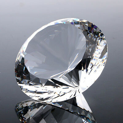 Huge 200MM Crystal White Paperweights Cut Glass Giant Diamond Wedding Deco Gifts