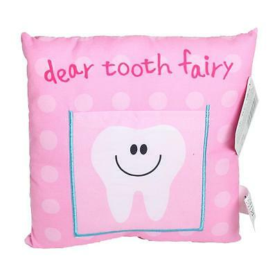 Tooth Fairy Cushion / Pillow with Pocket 20cm x 20cm - Pink for Girls
