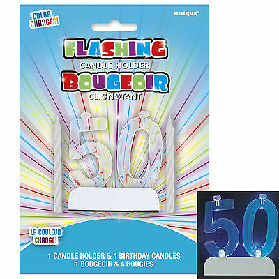 Colour Changing Number 50 50th Birthday Party Flashing Cake Candle Holder Set