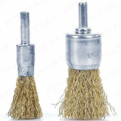 2Pc BRASS WIRE BRUSH DECARB CLEANER 12mm & 25mm DeCoke Rotary Rust Removal Set