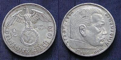 Moneta Coin Germania Germany Third Reich 2 Mark 1939.a Argento Silber Silver #2