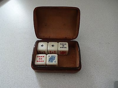 Vintage Poker Dice  & Leather Box  Playing Card Symbols