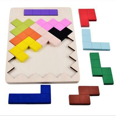 Kids Colorful Tetris Puzzle Tangram Brain Teaser Game Set Wooden Tetris Toys