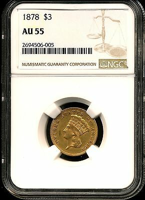 1878 G$3 Indian Princess Gold Three Dollar AU55 NGC 2694506-005