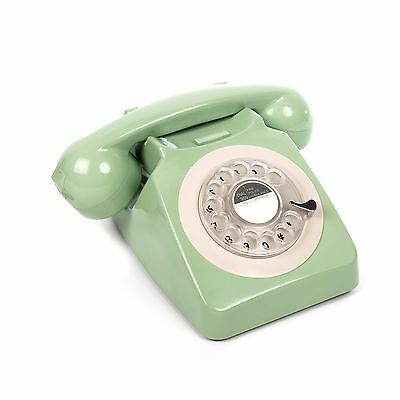 GPO 746 Retro 1970's Rotary Dial & Authentic Bell Ringer Telephone - Mint green