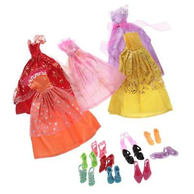 5Pcs Handmade Princess Party Gown Dresses Clothes 10 Shoes for Barbie Dolls
