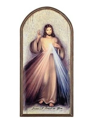 Catholic Divine Mercy Icon Arched Wooden Wall Plaque , 15 Inch
