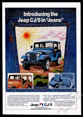 1975 Jeep CJ5 Renegade in Levi's Blue Jeans photo vintage print ad