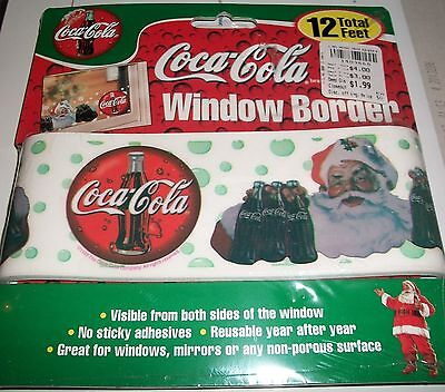 Coca~Cola Santa Claus Coke Window Border Cling Reusable 12 Feet New On Package