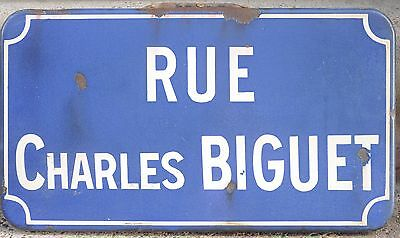 Old French enamel street road sign plaque plate Charles Biguet - Thiron-Gardais
