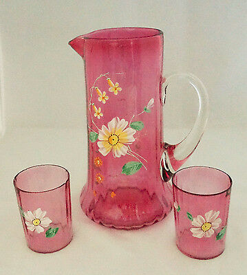 Lovely Victorian Blown Cranberry Art Glass Enamel Flowers Water Pitcher