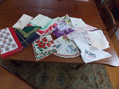 18 Vintage Handkerchiefs  Hartford  Sachmo  Christmas Chrochet  Tatted