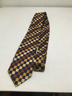 The Silk Company of London Blue & Brown Square Pattern 100% Silk Neck Tie